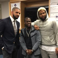 Drizzy Drake, Kevin Hart, Odell Beckham Jr. prior to the #DewCelebGame