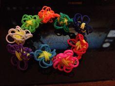 Daisy flower rainbow loom bracelet I made