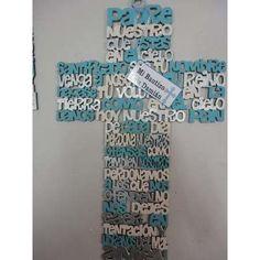 Cruz De Madera Mdf Corte Láser Ave Maria Padre Nuestro Angel - $ 150.00 en MercadoLibre