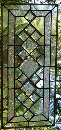 Beveled Diamonds Stained Glass Window-Can be displayed