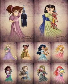 Disney princesses when they were little