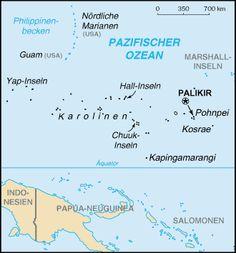 Karte von Mikronesien ◆Föderierte Staaten von Mikronesien – Wikipedia http://de.wikipedia.org/wiki/F%C3%B6derierte_Staaten_von_Mikronesien #Micronesia