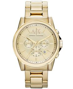 A X Armani Exchange Watch, Men's Chronograph Gold Ion-Plated Stainless Steel Bracelet - Men's Watches - Jewelry & Watches - Macy. Armani Exchange, Big Watches, Gold Watches, Stylish Watches, Casual Watches, Gold Chains For Men, Armani Watches, Vintage Watches For Men, Beautiful Watches