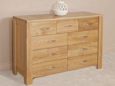 Galway Natural Solid Oak 9 Drawer Chest | Oak Furniture Land