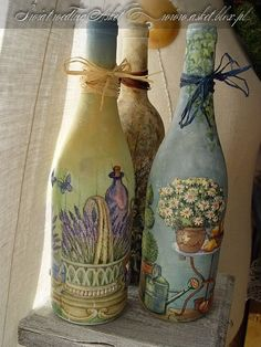 D Decoupage en ladrillos y botellas.  Ideas y master class: