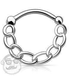 16G Silver Chain Brass Septum Clicker