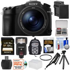 Sony Cyber-Shot DSC-RX10 III 4K Wi-Fi Digital Camera with 64GB Card + Battery & Charger + Backpack + Tripod + Filter + Flash & LED Light + Kit. KIT INCLUDES 15 PRODUCTS -- All BRAND NEW Items with all Manufacturer-supplied Accessories + Full USA Warranties:. [1] Sony Cyber-Shot DSC-RX10 III 4K Wi-Fi Digital Camera + [2] Sony 64GB SDXC C10 UHS-1 Card + [3] Spare NP-FW50 Battery +. [4] Battery Charger + [5] Vivitar 72mm UV Glass Filter + [6] Vivitar Sling Camera Strap + [7] PD Mini Sling...