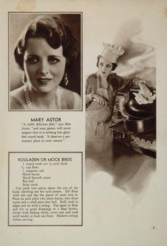 Mary Astor's Rouladen or Mock Bird Recipe.   From 1931.