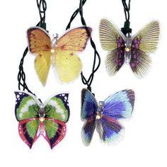 Kurt Adler UL 10-Light Fiber Optic Butterfly String Light Set