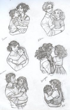 Percy Jackson, Annabeth Chase, Frank Zhang, Hazel Levesque, Piper McLean, and Leo Valdez with their parents.: