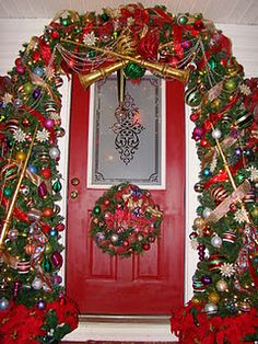 My blog... check it out. Christmas Front Doors, Christmas Door, Outdoor Christmas, All Things Christmas, Christmas Lights, Christmas Ideas, Christmas Wreaths, Holiday Decorating, Porch Decorating