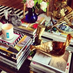 coffee table brass & cute pup - H Home