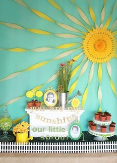 Hostess with the Mostess® - Sunshine and Sprout Joint Birthday Party - love the backdrop