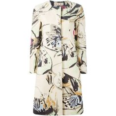 Marni Floral Print Coat ($1,121) ❤ liked on Polyvore featuring outerwear, coats, jackets, floral print coat, marni coat, long sleeve coat, white coat and floral coat