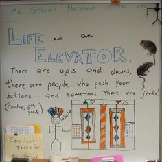 Another shining new sixth grader--Carlos--made me laugh with this metaphor about life and elevators.  Thanks, Carlos...keep that figurative language coming, buddy!