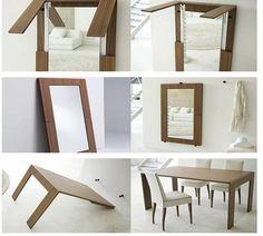 Gain d'espace toujours: la table miroir! Tout simplement génial.