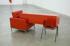ANGELA DE LA CRUZ  Transfer (Red), 2011  Armchair, wooden painted box and chair  84 x 200 x 95 cm