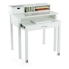 Love this roll-out desk from The Container Store! Would work so well in my new hallway closet office :)
