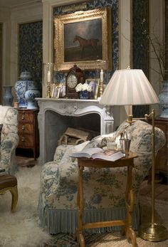 Ralph Lauren interior roomsets  English Mansion    A classic English mansion style with inset fabric panelled walls, floral fabrics with antique furniture and collectables.