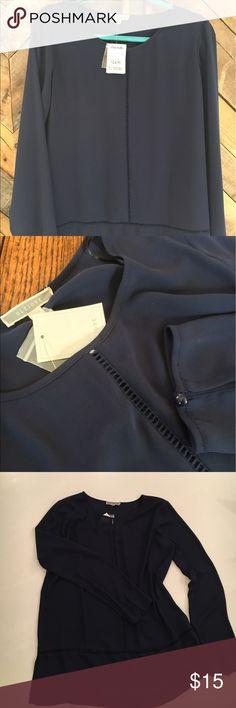 Pleione top Navy Pleione blouse. NWT. 100% Polyester, 100% Cotton trim. Smoke free, pet free home. Pleione Tops Blouses