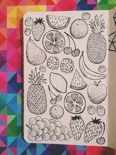 Fruit! Doodled in my moleskine sketchbook with micron pens.