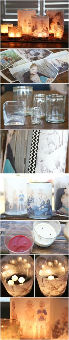 Glowing Photo Luminaries DIY how to transfer a photo onto candles. Beautiful