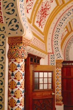 Detail of decoration in the Turkish Baths in Harrogate showing painted ceilings and patterned walls. © Harrogate Borough Council. This image is licensed under Creative Commons BY NC SA