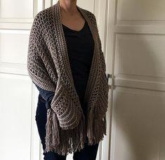 Easy Crochet Shawl Pattern: Perfect-Pockets Shawl Crochet pattern by KnotYourselfOut Boho Crochet, Crochet Shawl, Crochet Stitches, Crochet Vests, Crochet Edgings, Cross Stitches, Crochet Motif, Crochet Wrap Pattern, Easy Crochet Patterns