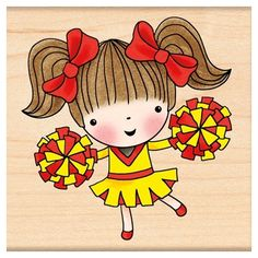 Cheerleading Mimi - Rubber Stamp