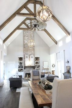 Sherwin Williams Respose Gray Our The wall color in our entire home is Repose Gray, by Sherwin Williams The living room ceilings are cathedral height at 24 feet and our brick fireplace - House tour on Home Bunch blog today