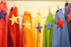 Easy Superhero fleece cape tutorial (So easy that she made these as party favors) no sew option. Great idea to use fleece and no need to hem