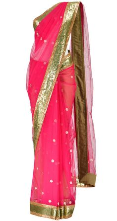 SABYASACHI Pink chanderi saree with sequinned border..perfect for an INDIAN wedding..!!