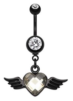 Dark Love Angel Belly Button Ring