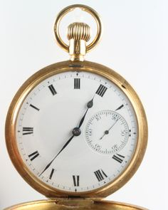 LOT 681, An 18ct yellow gold mechanical hunter pocket watch with seconds at 6 o'clock, the movement stamped 405989/31457 SOLD £1100
