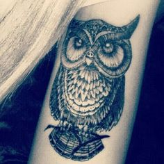 Owls symbolize wisdom,  transition, messages, intelligence and secrets.  Lucy had an obsession for owls so she got a tattoo of one. She has a few other tattoos but the owl is her favorite one.