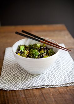 Ginger Broccoli with Forbidden Rice. How can healthy taste so good? Yum.