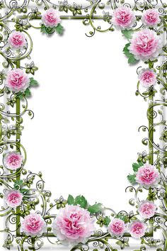 An intricate border with pink flowers Boarder Designs, Frame Border Design, Photo Frame Design, Picture Borders, Boarders And Frames, Printable Frames, Borders For Paper, Floral Border, Flower Backgrounds