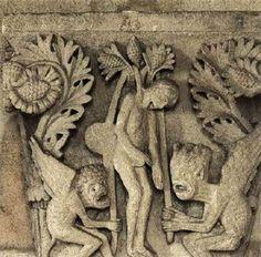 Judas se ahorca asistido por demonios. Gislebertus. Capitel de la Catedral de Autun.