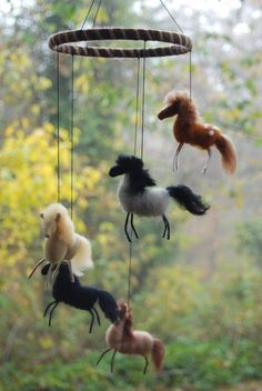 Needle Felted Horse Mobile Wild Mustangs by BondurantMountainArt - $115