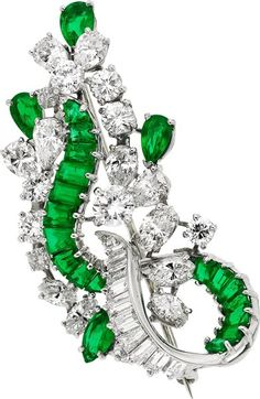 Diamond, Emerald, Platinum Brooch.