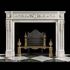Antique Louis XVI fireplace in carrara marble. Fireplace Grate, Fireplace Surrounds, Fireplace Design, Fireplace Mantles, Luxury Interior Design, Interior Decorating, Baroque Design, Marble Fireplaces, Digital Backdrops