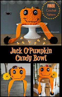 Free Crochet Pattern: Jack O Pumpkin Candy Bowl   Pattern Paradise