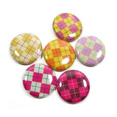 You won't mind buttoning up with these colorful argyle buttons.