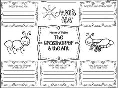 aesops fables graphic organizers for 6 different fables
