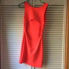 Neon pink mini dress, open backed dress ! Adorable neon pink with an open back. Worn twice and recently dry cleaned (tag as seen lol). Size small and body conscious ! Stretch material. Dresses Mini