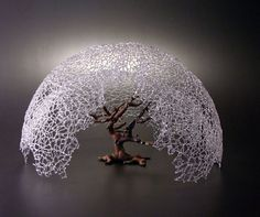 "braeburn"" - Micah Evans - 2010, borosiicate glass, iron, 25 inches wide  -  apple tree and atmosphere of my youth"