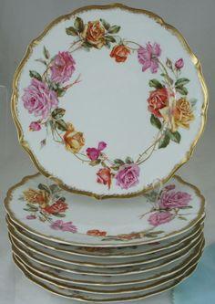LIMOGES LARGE PINK & YELLOW ROSE FLOWER GARLAND,GOLD RIM,8 DINNER PLATE SET FAB! #LIMOGES