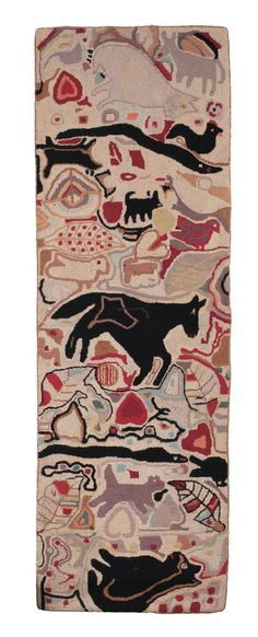 DOMESTIC ZOO YARN SEWN RUG, TWENTIETH CENTURY. IN THE STYLE OF MAGDALENA BRINER EBY OF PENNSYLVANIA.  Sold: $531.00($450)  71 ½ x 23 ½ inches.  Est. $1,000-$2,000