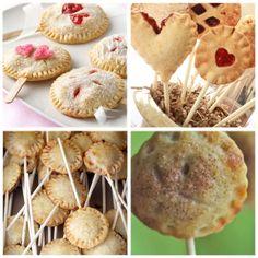 Mmm pie pops! Get fall's favorite flavors (pumpkin, apple, rhubarb!) in mini pie pops for your wedding!
