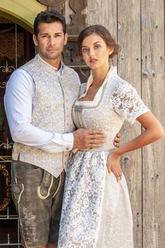 Helena (weiß-beige) The exclusive wedding dirndl Helena in white-beige is a modern bride dirndl crea Alternative Wedding Dresses, Africa Fashion, The Dress, Dress Patterns, Vintage Dresses, Marie, Creations, Clothes For Women, Outfits